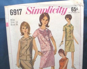 Vintage Simplicity Pattern 6917 Misses Two Piece Dress, Size 16, 1966