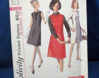 Vintage Simplicity Pattern 6116 Misses Dress or Jumper 1965