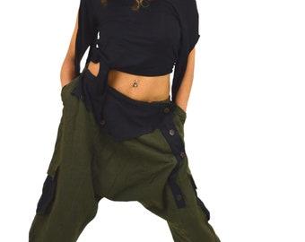 Drop crotch shorts Alternative clothing Psy trance clothing Post apocalyptic Tribal fusion Psy trance shorts Baggy festival shorts