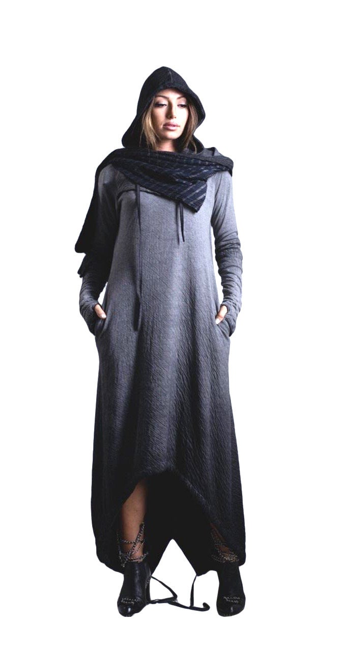 df0367df7e Medieval dress Gothic dress Pagan clothing Hooded dress Winter