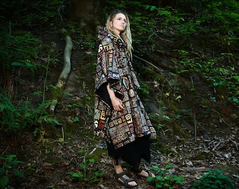 Ethical clothing Hooded cape Rainbow Hooded Poncho Trippy hoodie Hippie poncho Wizard coat Psychedelic clothing Abstract art poncho