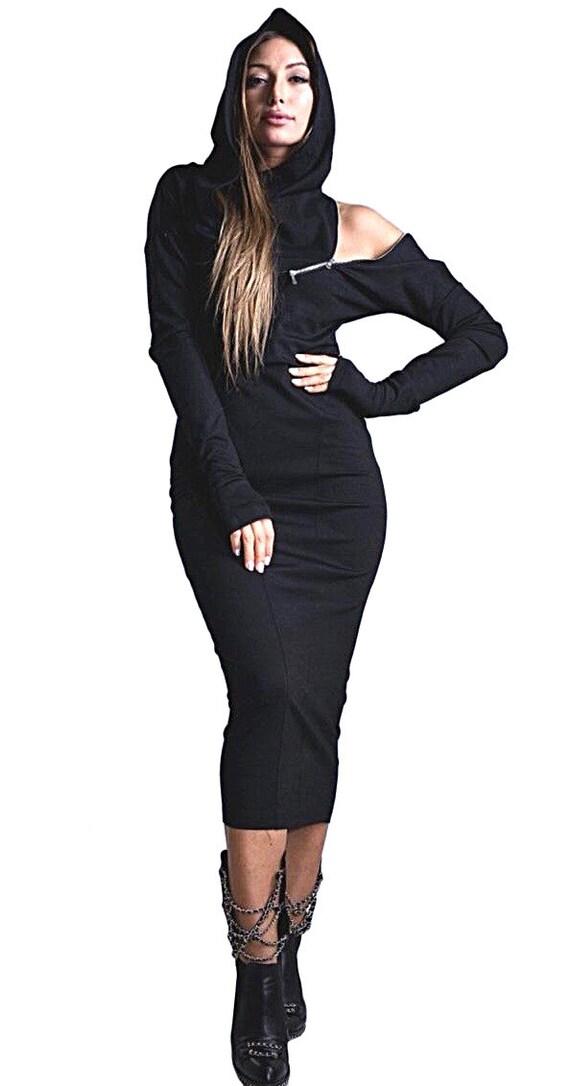 Gothic Kleid aus Schulter Kleid mit Kapuze ästhetische Kleidung warm Winterkleid mit Hand Handschuhe