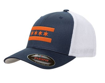 9aa9fd054 Navy Chicago Bears Flag Mesh Snapback Premium Yupoong Adult Retro Trucker Cap  Hat 6006