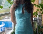 Blue White diamond cut out mini dress