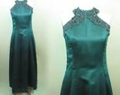 Vintage Emerald Green Jessica McClintock Gunne Sax Long Prom Formal Wedding Bride Maid Satin Dress Designer size 11 12 Sleeveless Beaded