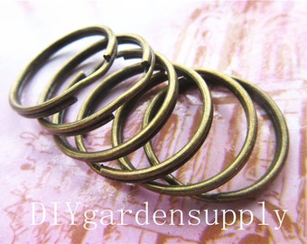 lead and nickel free---30pcs 25 mm antiqued bronze Key ring zinc alloy charms findings
