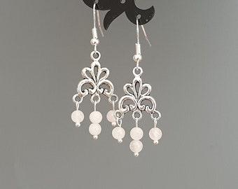 Magenta pink White lampwork flower Earrings Jade stone 925 sterling silver hook