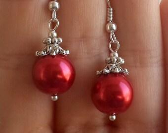 Red ball earrings | Etsy
