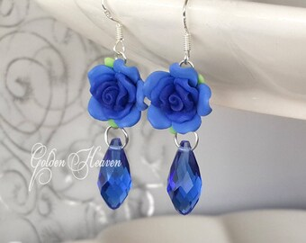 Blue flowers earrings Floral Earrings silver Earrings Royal Blue Earrings cute Blue Roses Earrings crystal earrings 925 Sterling Silver