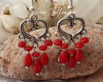 Red Coral  Earrings Chandelier Coral Earrings 925 sterling silver Tibetan Silver Natural Coral