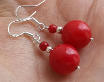 Red coral earrings 925 sterling silver Round red Earrings Red coral jewelry Cute red earrings silver Round red coral Natural coral jewelry