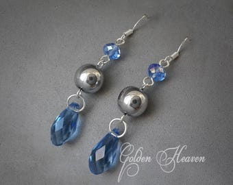 Blue and gray earrings Blue teardrop earrings Blue Crystal Earrings Long Blue earrings Hematite earnings 925 Sterling Silver