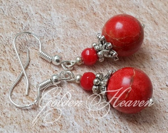 Red jasper Red Coral Earrings Round red earrings Red Jasper Earrings red gemstone earrings 925 Sterling Silver hooks