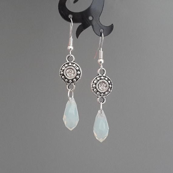 Large White Jade Earrings Round Gemstone Jewelry Women 925 sterling silver hook