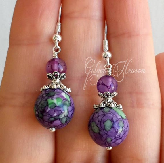 Dragon Vein Princess Purple Agate with Czech beads and Earrings