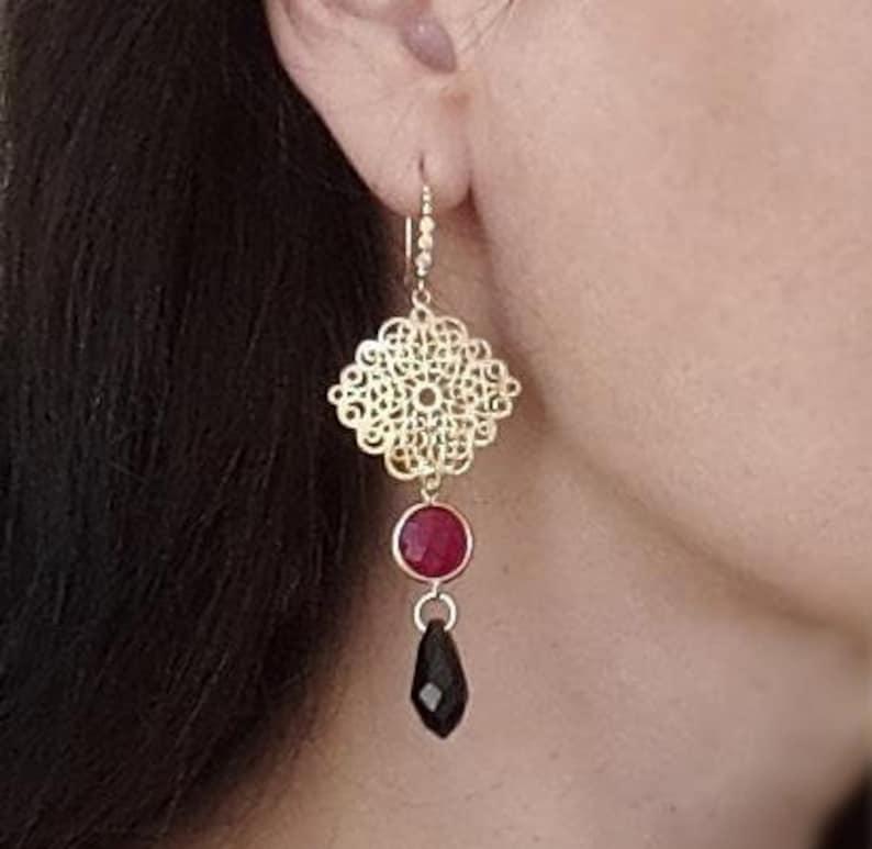 Beautiful pink black gold Earrings Filigree Gold Ruby Jade and Black Crystal Earrings Pink Black Earrings 16k gold Cubic Zisconia luxury