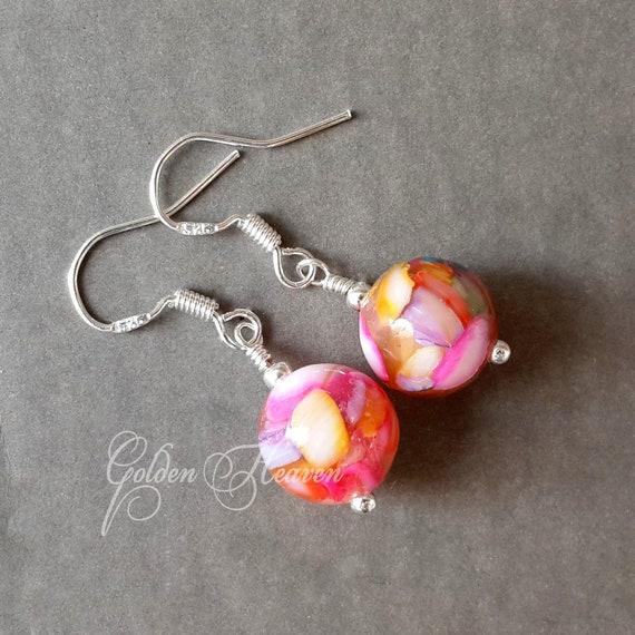 pink and white earrings pink raspberry jade earrings dangle earrings My special gift stone bead earrings Freshwater pearls earrings