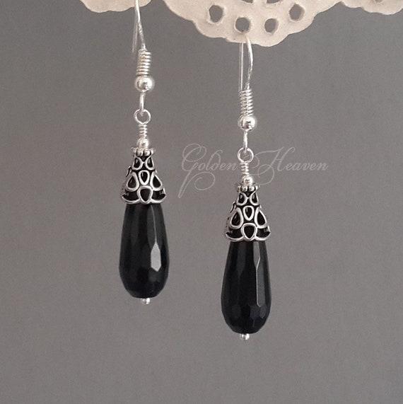Black Onyx Drop Dangle Earrings /& Sterling Silver Hooks Gifts for her