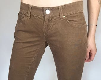 Y2K Brown Corduroy Low Rise Flares