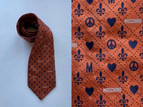 Moschino Silk Necktie, Moschino, Orange Moschino L