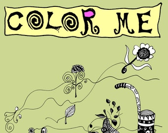 coloring book for grownups and kids, with artists drawings, full of imagination, and special, magazine, book,