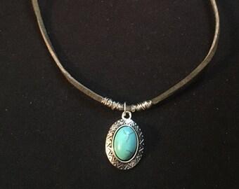 Turquoise Pendant Choker - Wire Wrapped Choker