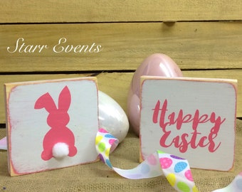 Easter decorations. Rustic Easter decor  Set of 2 Rustic Easter Signs. Happy Easter sign Rustic decor Rustic signs Rustic Easter bunny decor