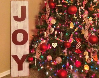 joy sign 4 ft tall rustic christmas sign christmas decor rustic christmas decorations large porch sign - Teak Isle Christmas Decorations