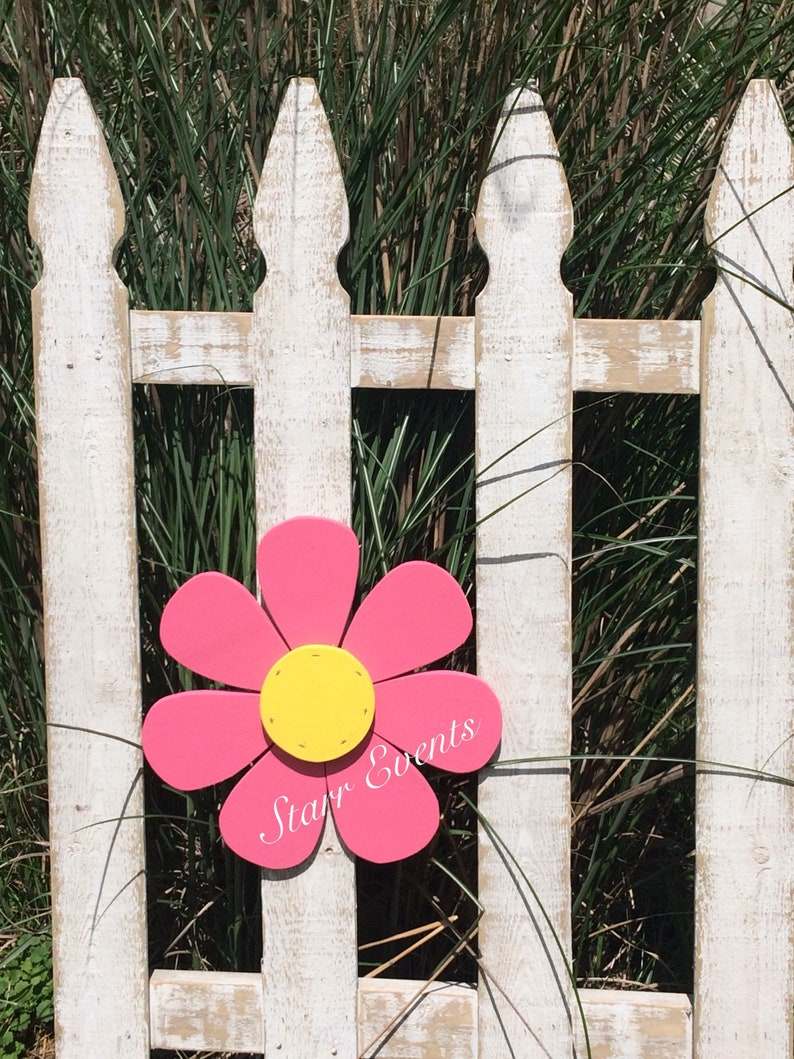Fence Flowers Wooden Daisy Mothers Day Gifts Yard Etsy