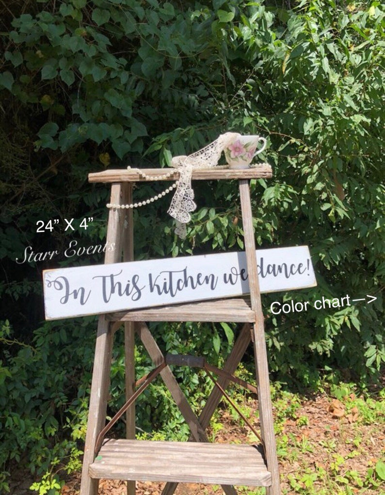24 X 4 Rustic Kitchen Signs Rustic Farmhouse Decor Farmhouse Kitchen Signs In This Kitchen We Dance Sign Rustic Kitchen Decor Rustic Home Decor Handmade Products Signs Plaques