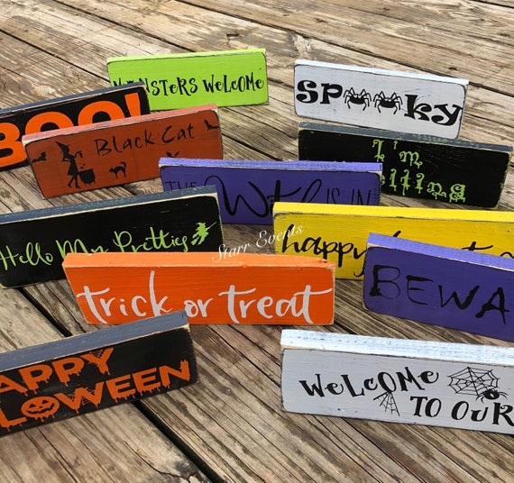 10 Small Halloween Signs Halloween Decorations Rustic Etsy