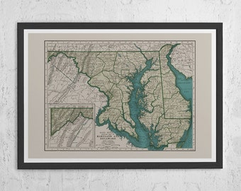 Vintage Map Print of Maryland and Delaware Old Map Prin MARYLAND VINTAGE MAP