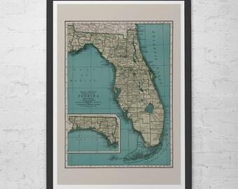 Old Florida Maps.Florida Map Etsy