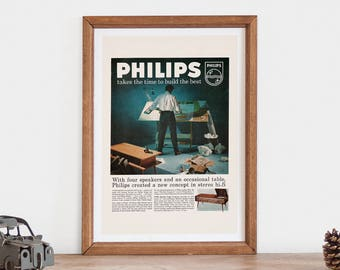 60/'S VINTAGE PHILIPS RADIOS ADVERTISEMENT A3 POSTER REPRINT MID CENTURY 1950/'S