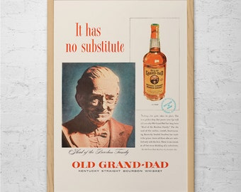 5999df617 VINTAGE KENTUCKY BOURBON Ad - Retro Whiskey Ad - Bar Art Barware Poster Retro  Bourbon Ad Old Grand Dad Bourbon Bar Poster Barware Wall Art