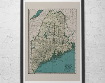 Maine Map Etsy - Antique map of maine