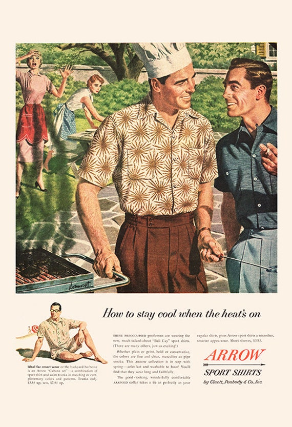MENS FASHION Ad , Retro Mid,Century ARROW Ad , Vintage Fashion Poster  1950\u0027s Retro Ad Kitsch Poster Retro Home Decor Mad Men Party retro bbq