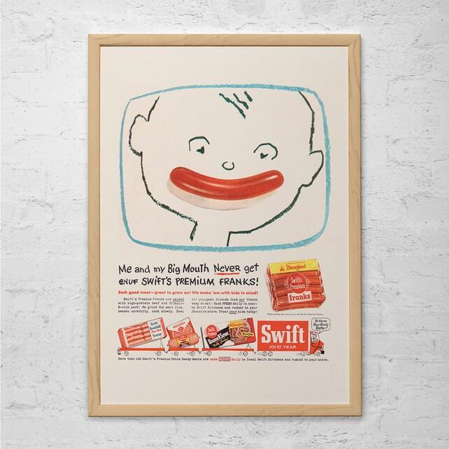 CUTE RETRO KIDS Ad Vintage Kitchen Poster Hot Dog Ad | Etsy