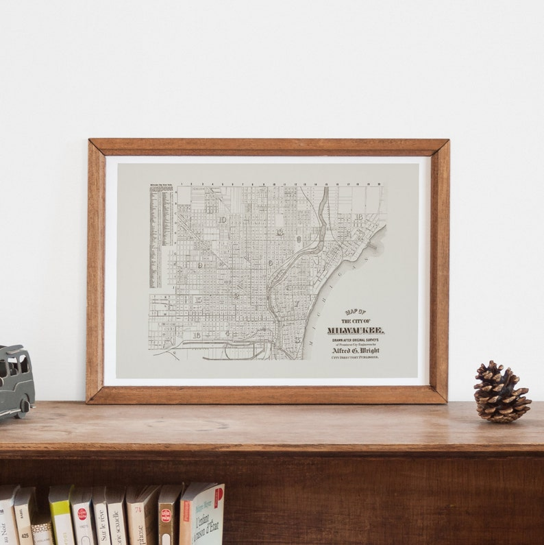 Vintage Milwaukee Map Milwaukee Wisconsin Map Antique Map Etsy
