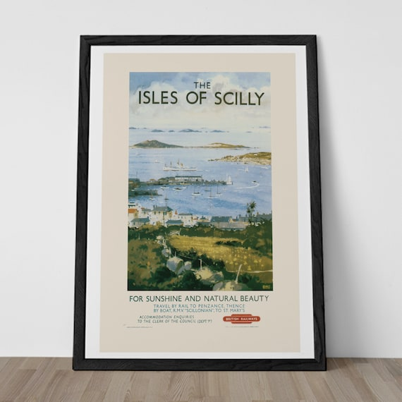 Isles of SCILLY Travel Poster Vintage British Railways ENGLAND TRAVEL Poster