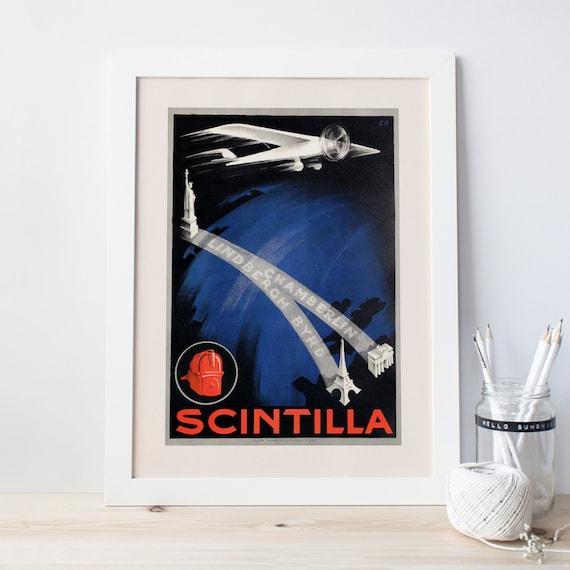 Vintage Art Deco Giclee Poster Print SCINTILLA AVIATION FLIGHT High Quality Fram
