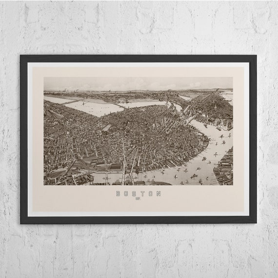 Antique Boston Map Vintage Map Wall Art Vintage Map Etsy