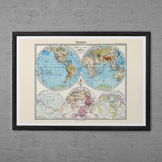 Weltkarte Poster Vintage vintage world map professional reproduction vintage map | etsy