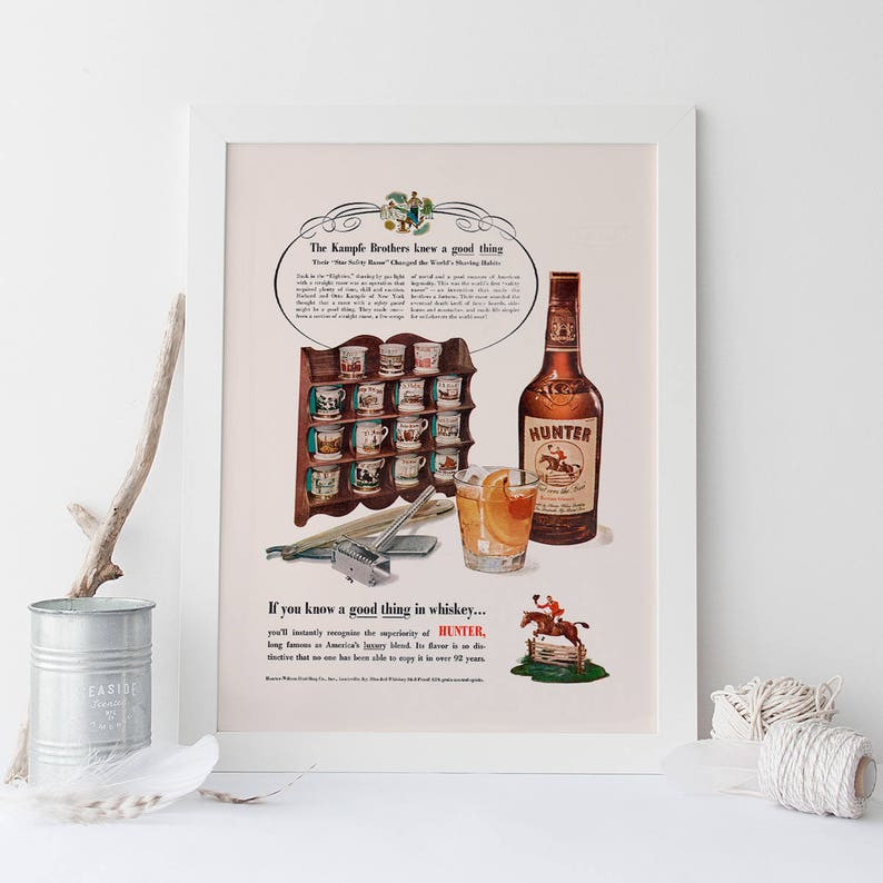 Original Print Ad 1950 Hunter Blended Whiskey If You Know Value Advertising-print