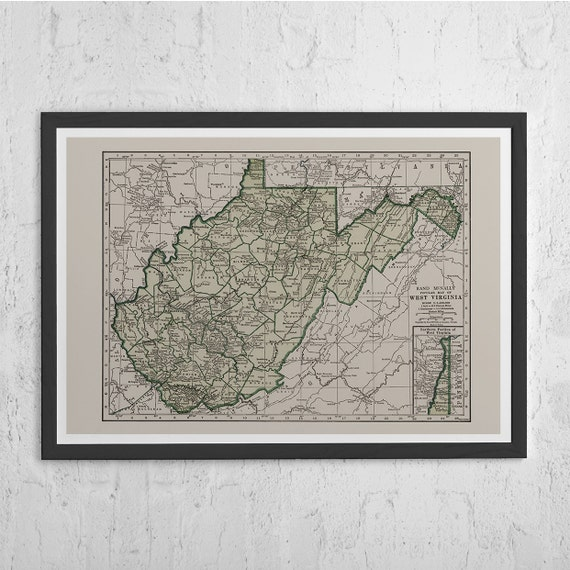 Historical Antique Map Print Vintage Map of West Virginia WEST VIRGINIA MAP