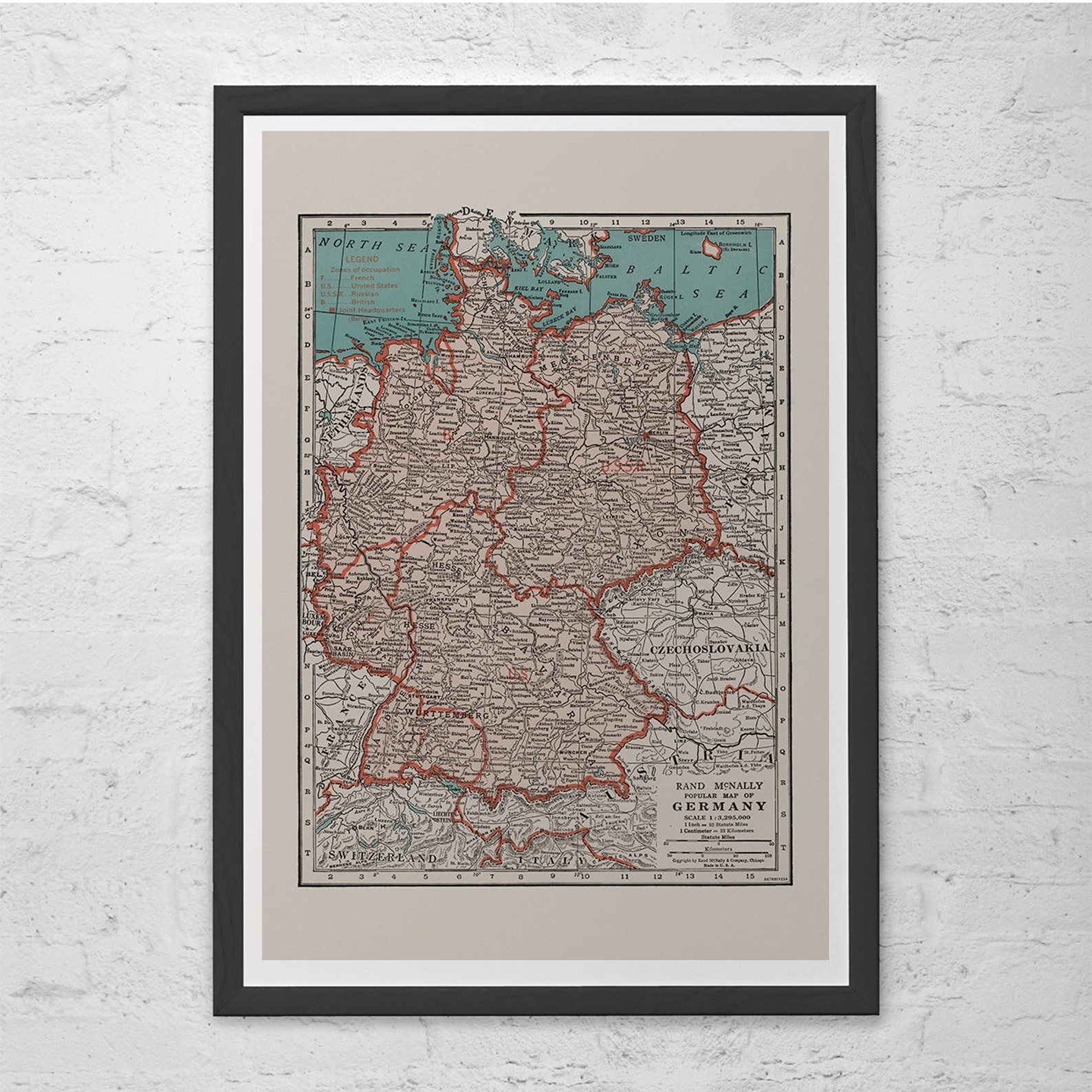 VINTAGE GERMANY MAP - Vintage Map of Germany Wall Art - Vintage Map Reproduction,