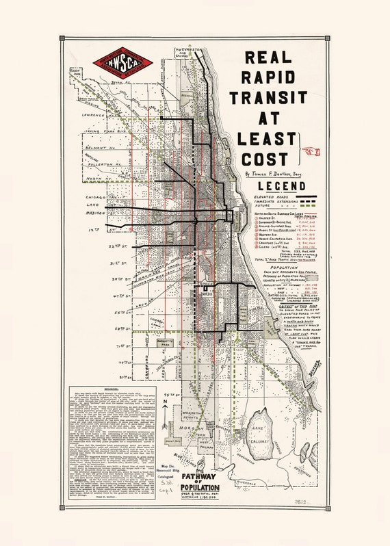 Chicago Subway Map Picture.Chicago Subway Map Retro Map Of Chicago Professional Reproduction Minimalist Map