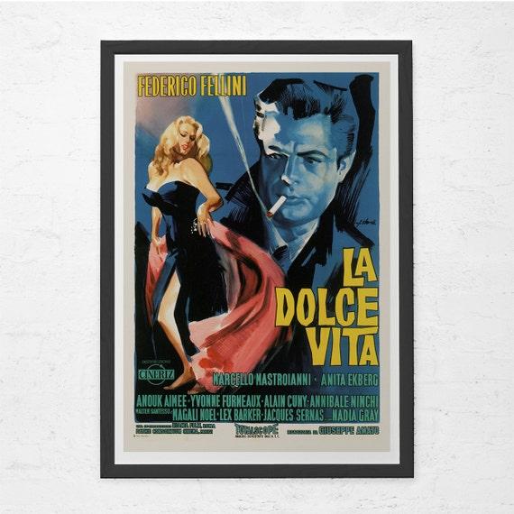 CINE clásico cartel Poster de La Dolce Vita Fellini