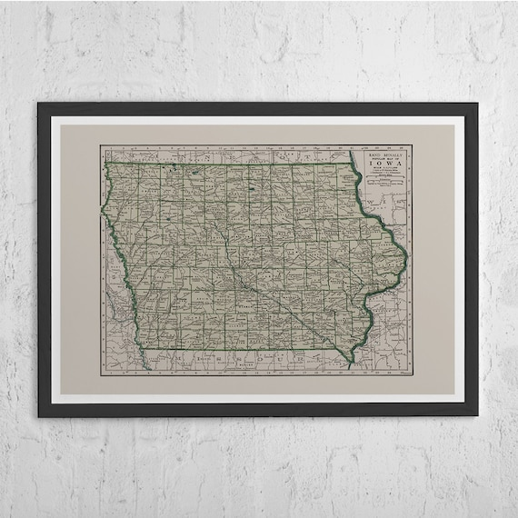 Old Iowa Map.Iowa Map Print Vintage Map Of Iowa Old Map Print Vintage Etsy