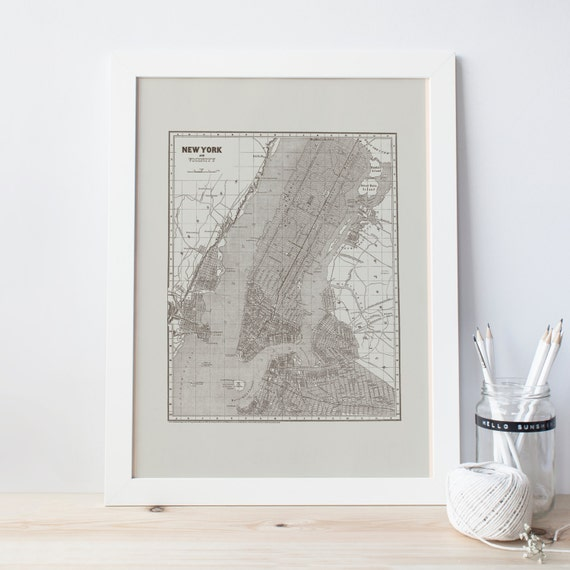 VINTAGE NYC MAP - Vintage Minimalist New York City Map, Retro Minimalist  Design New York Wall Art